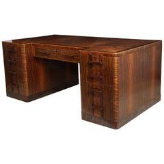 Art Deco Executive Desk in Walnut and Macassar Ebony