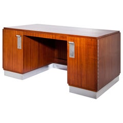 Art Deco Executive Desk with Metal Handles, Probably France of the 1940s
