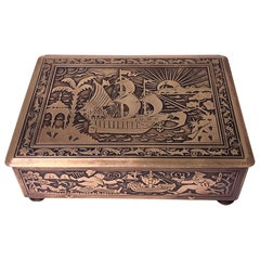 Art Deco Exotic Brass Jewelry Box, Germany, circa 1920