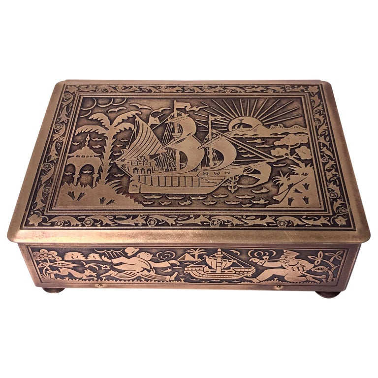 Art Deco Exotic Brass Jewelry Box, Germany, circa 1920 For Sale