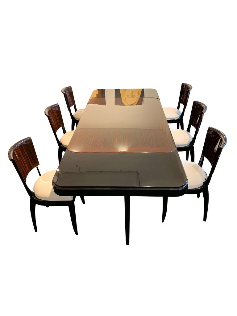 Expandable Art Deco Dining Room Set in Macassar, France circa 1925 For Sale 8