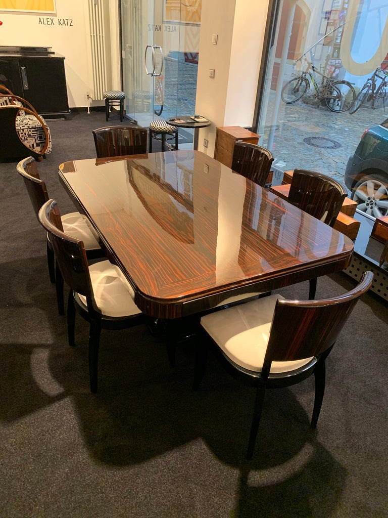 Expandable Art Deco Dining Room Set in Macassar, France circa 1925 For Sale 9