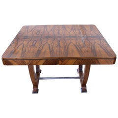 Art Deco Expandable Dining Table, Walnut Veneer, France, circa 1930