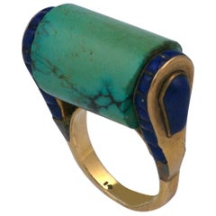 Art Deco Eygptian Revival Lapis and Turquoise Cocktail Ring
