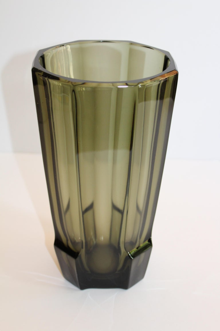 Art Deco Faceted Black Glass Vase in the Style of Moser For Sale 7