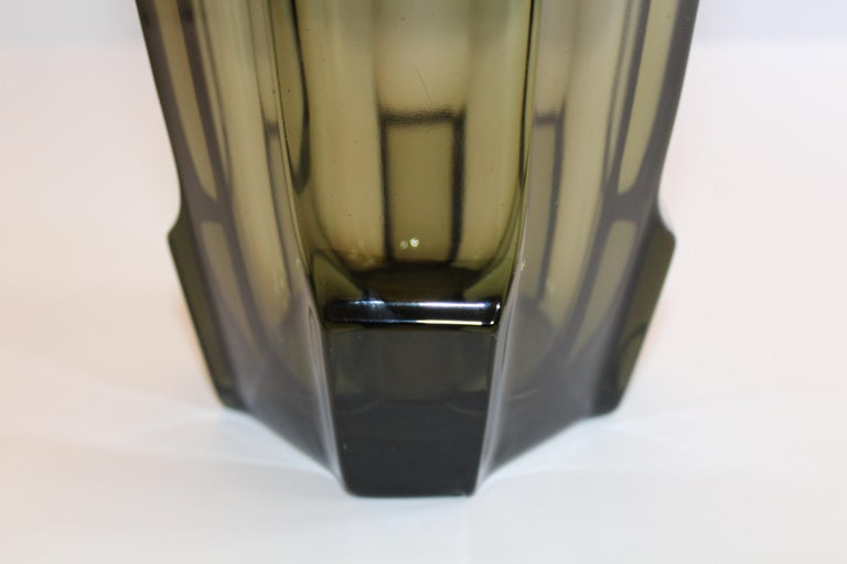 Art Deco Faceted Black Glass Vase in the Style of Moser For Sale 9