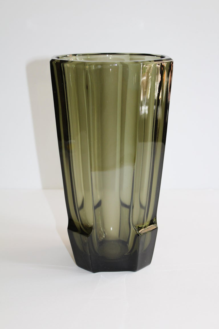 Art Deco faceted glass vase from Czech Republic. In hues smoked grey or translucent black in the manner of Moser Glassworks.