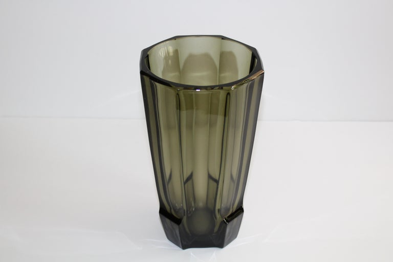 Czech Art Deco Faceted Black Glass Vase in the Style of Moser For Sale