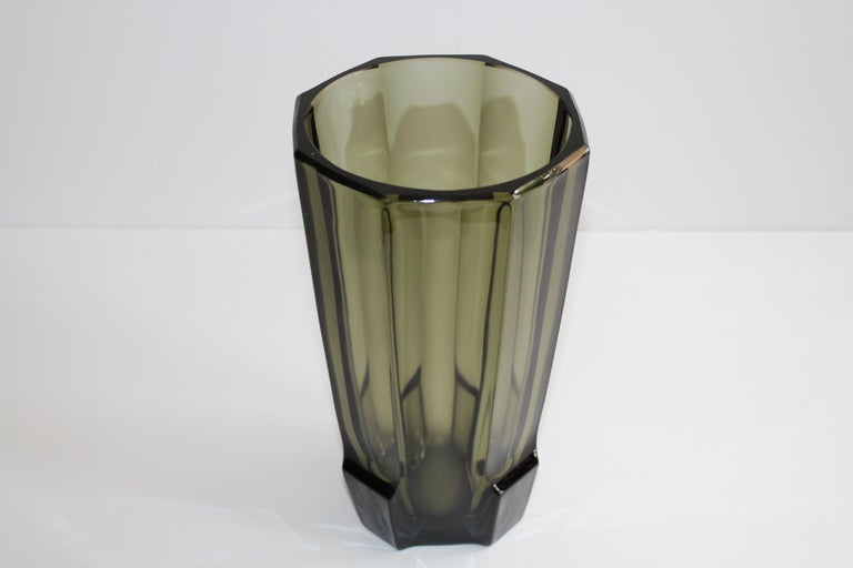 Mid-20th Century Art Deco Faceted Black Glass Vase in the Style of Moser For Sale