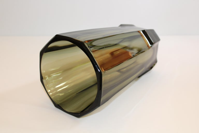 Art Deco Faceted Black Glass Vase in the Style of Moser For Sale 3