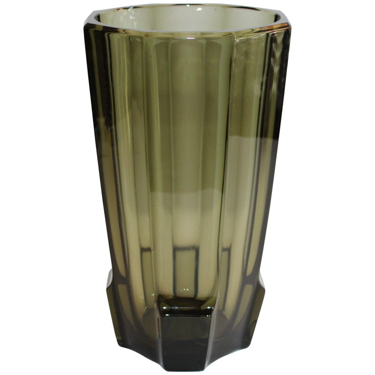 Art Deco Faceted Black Glass Vase in the Style of Moser For Sale