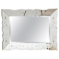 Art Deco Faceted Mirror with Etched Floral Motif