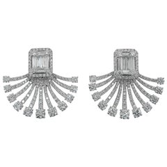Art Deco Fan Style Diamond Illusion Setting 18 Karat White Gold Earrings