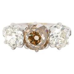 Art Deco Fancy 3.04 Carat Old European Cut Diamond Three-Stone Platinum Ring