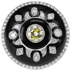 Art Deco Style Fancy Color and White Diamond Designer Ring