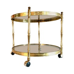 Art Deco Faux Bamboo Brass Coffee Table, 1940s