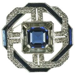 Art Deco Faux Sapphire Brooch