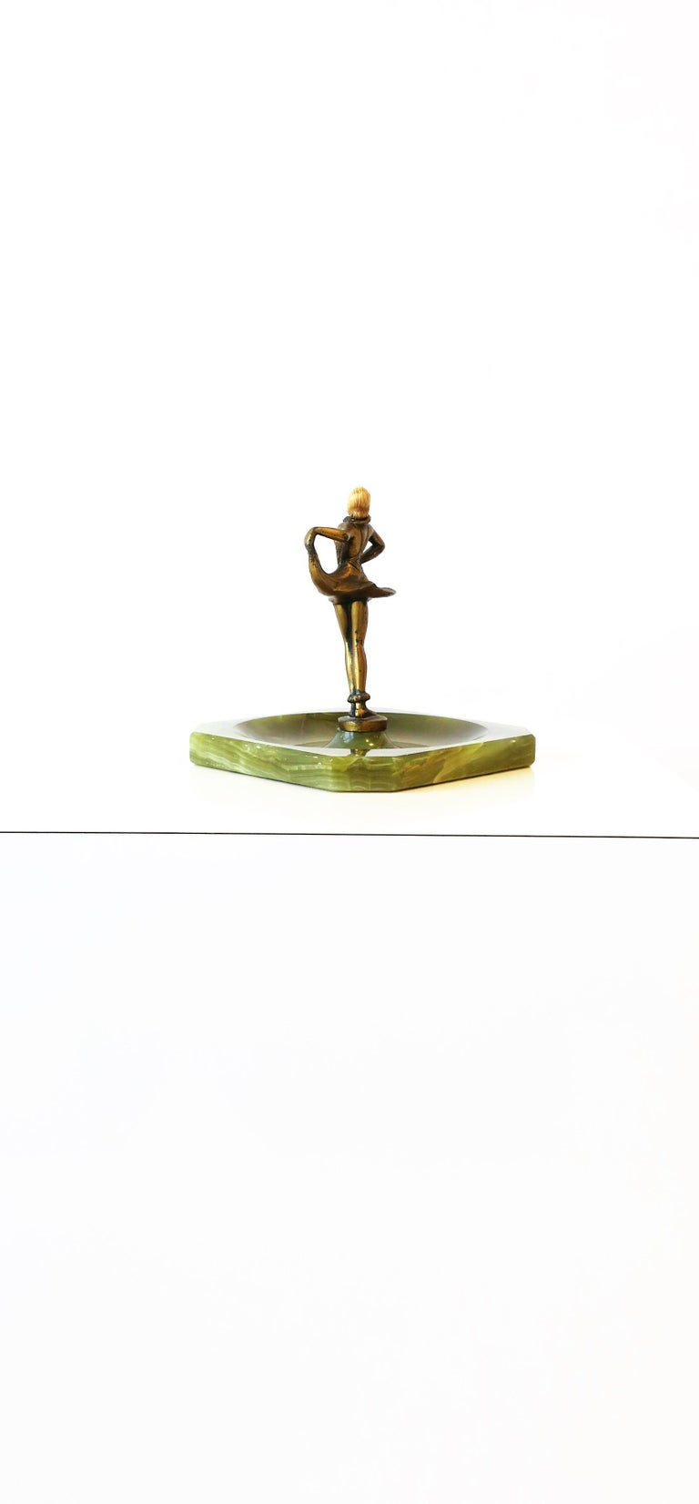 Art Deco Female Bronze Dancer Sculpture and Onyx Marble Catchall For Sale 8