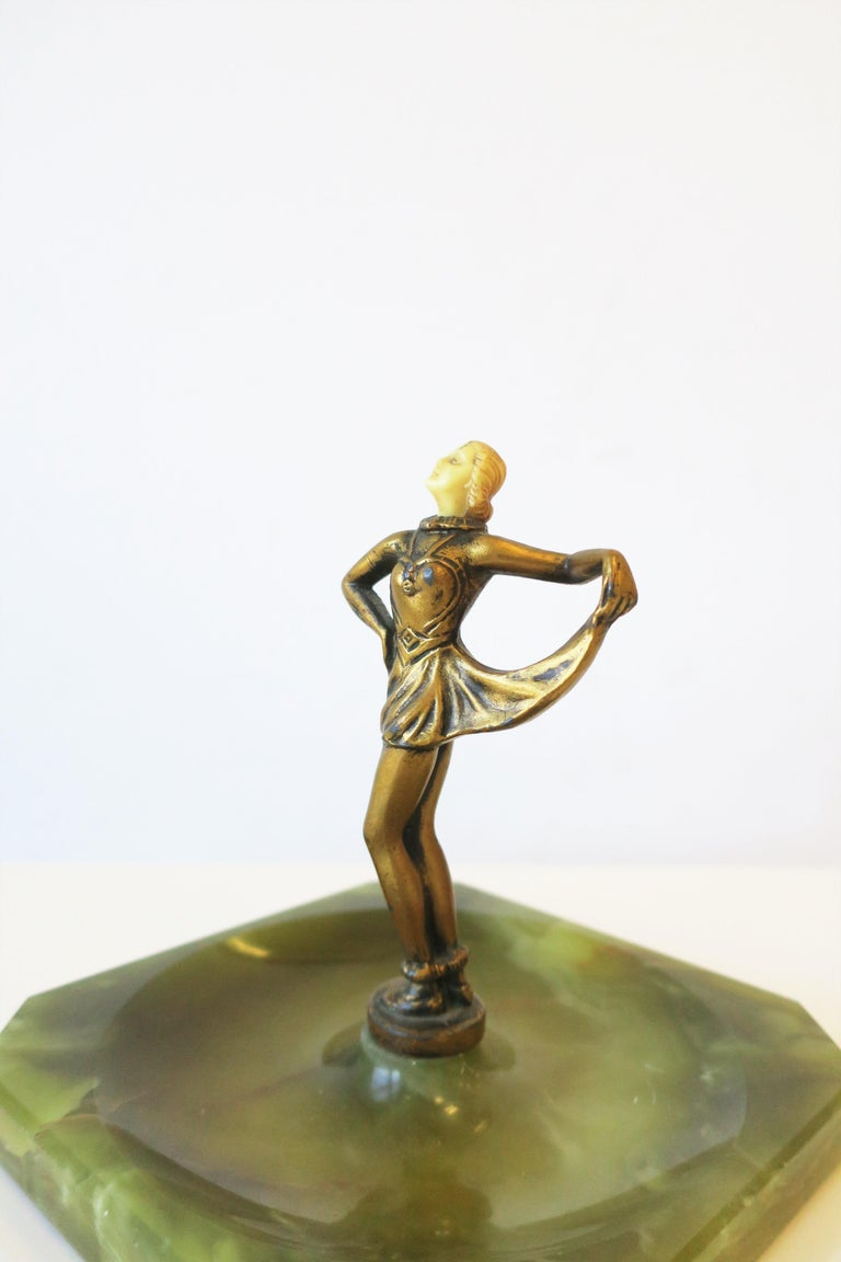 Art Deco Female Bronze Dancer Sculpture and Onyx Marble Catchall For Sale 11