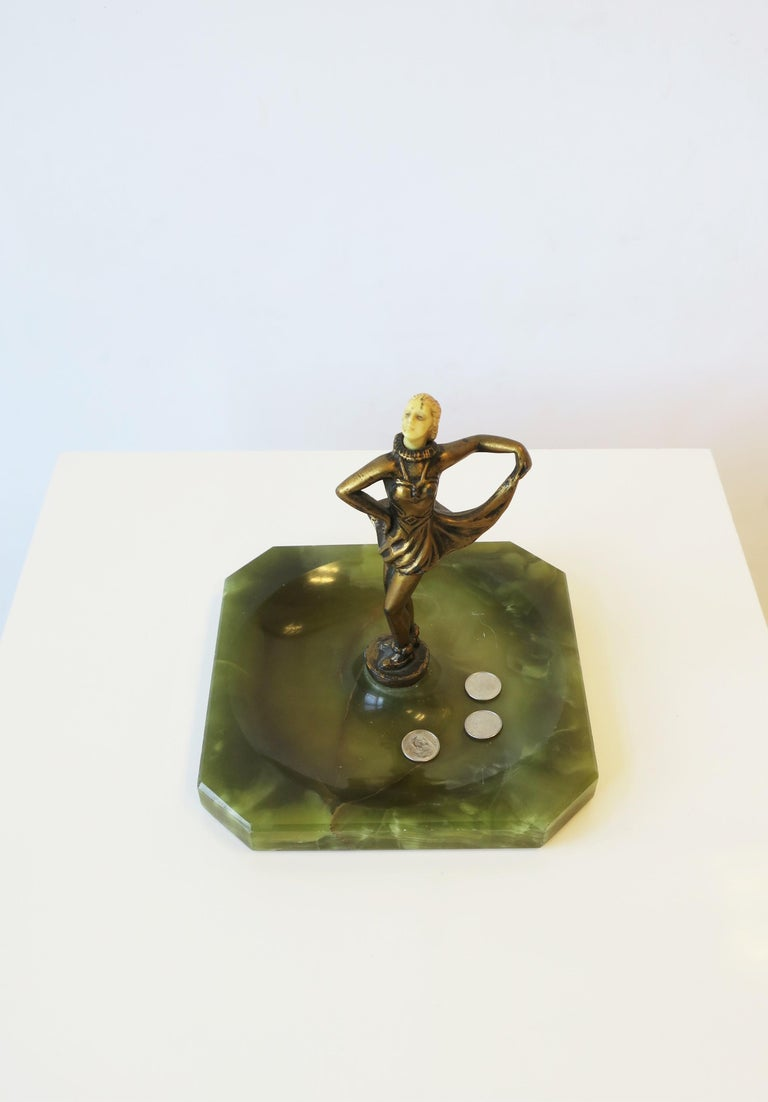 Art Deco Female Bronze Dancer Sculpture and Onyx Marble Catchall In Good Condition For Sale In New York, NY