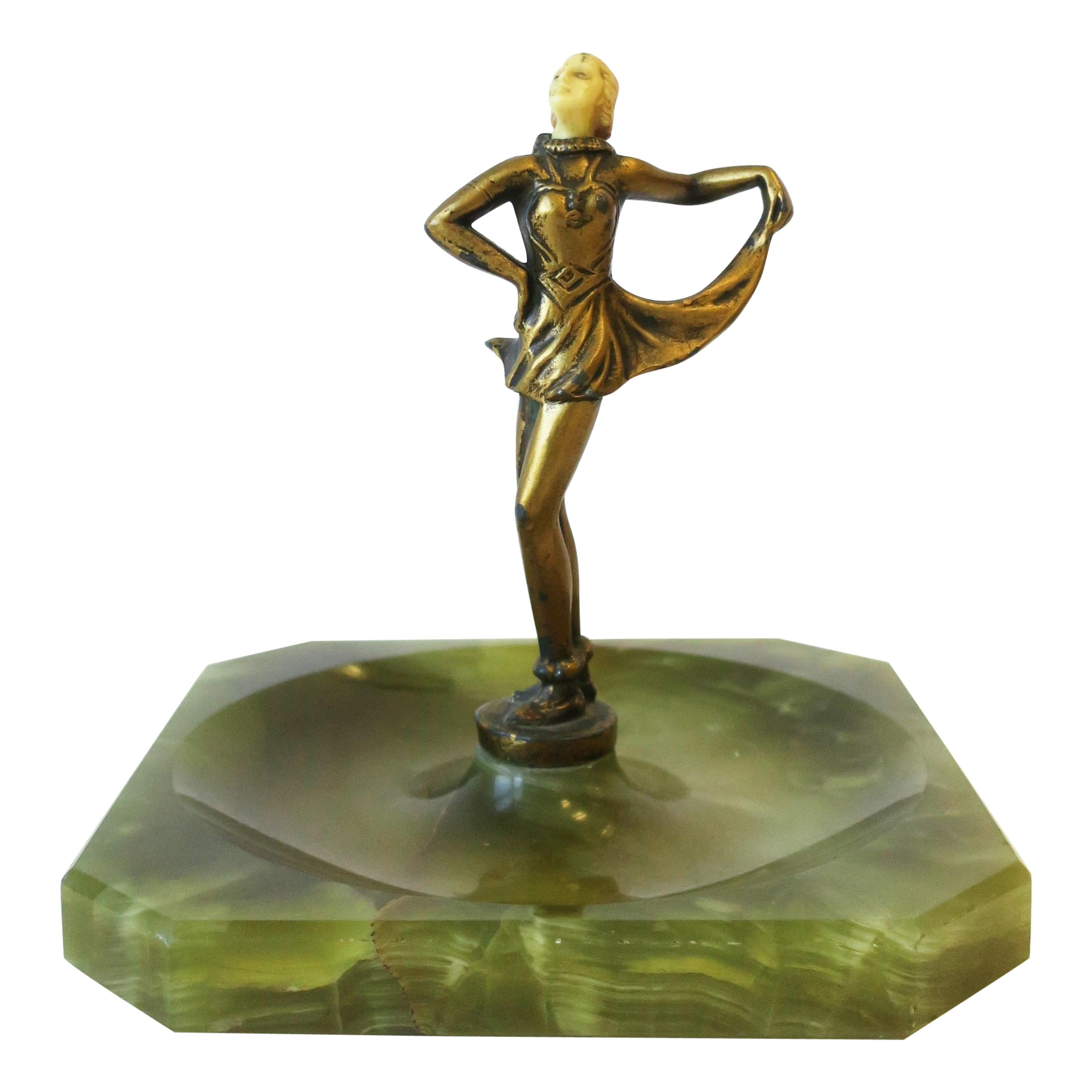 Art Deco Female Bronze Dancer Sculpture and Onyx Marble Catchall