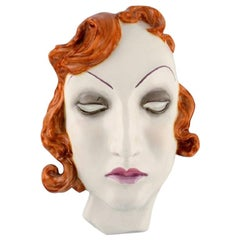 Art Deco Female Face in Hand Painted Glazed Ceramics, Germany, 1950s