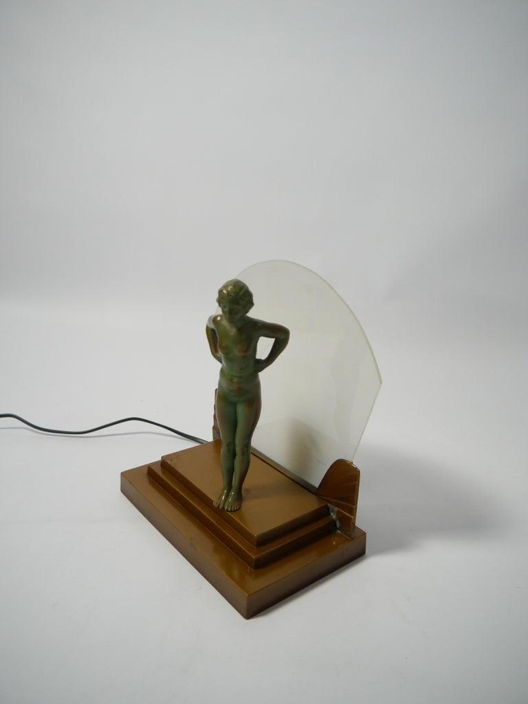 20th Century Art Deco Female Figure Table Lamp, 1930s For Sale