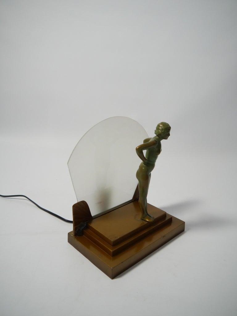 Bronze Art Deco Female Figure Table Lamp, 1930s For Sale