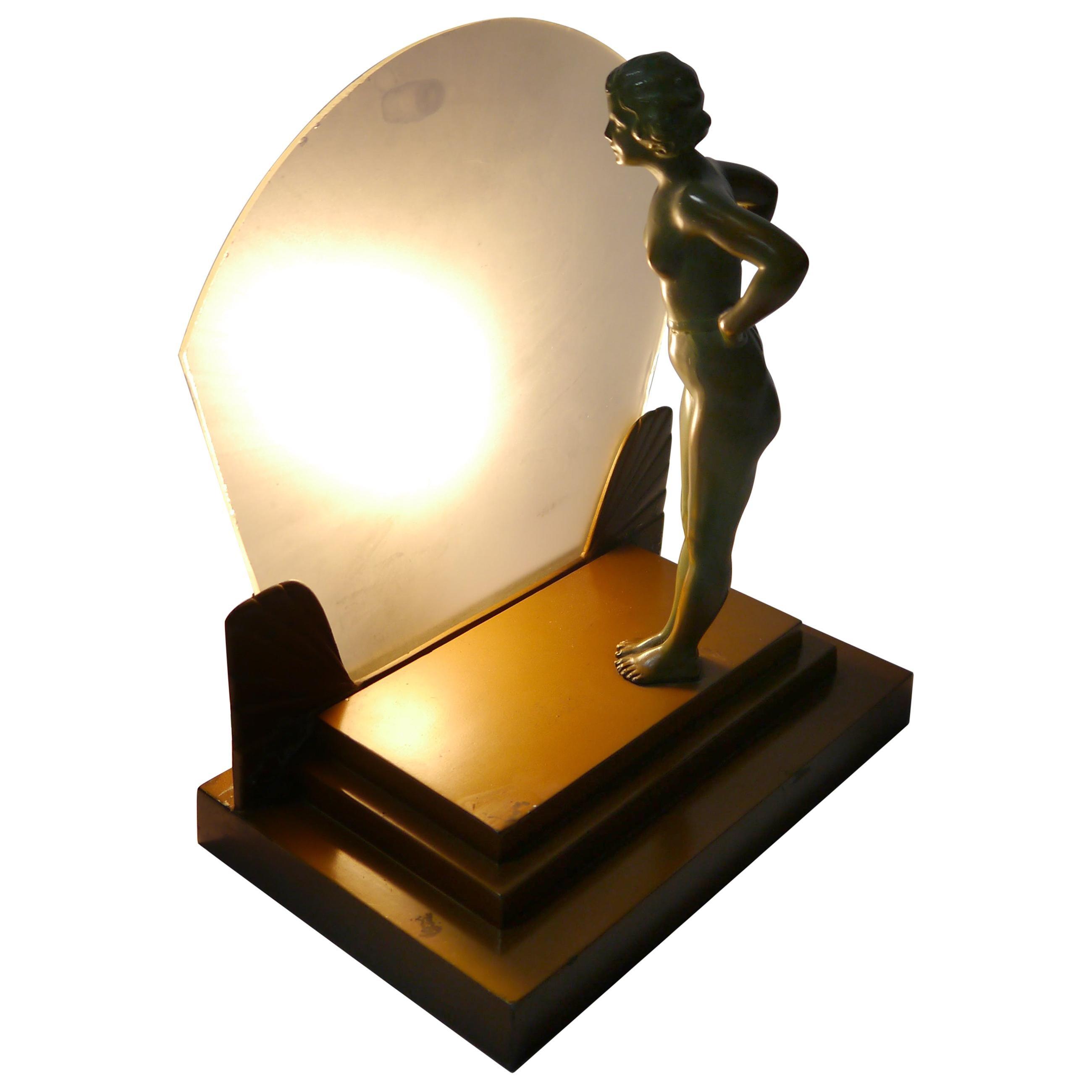 Art Deco Female Figure Table Lamp, 1930s