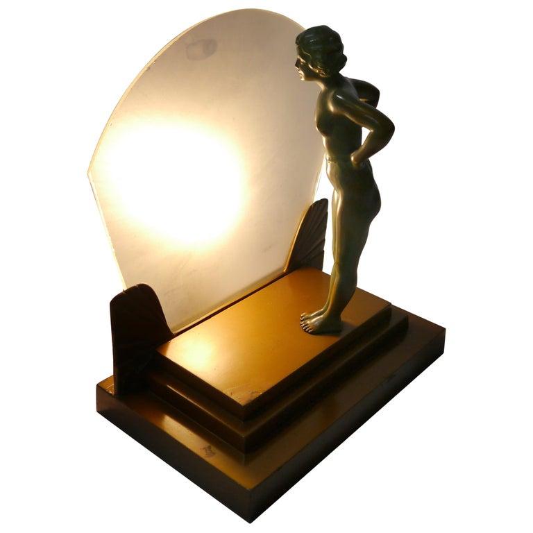 Art Deco Female Figure Table Lamp, 1930s For Sale