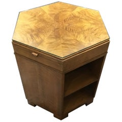 Art Deco Fiddleback Maple Hexagonal Side/Library/Coffee Table