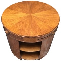 Art Deco Fiddleback Maple Round Side/Library/Coffee Table