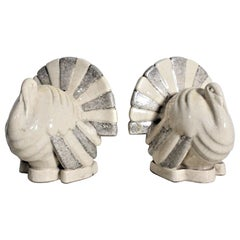 Art Deco Figural Ceramic Turkey Bookends in Taupe and Charcoal Grey Luster Glaze