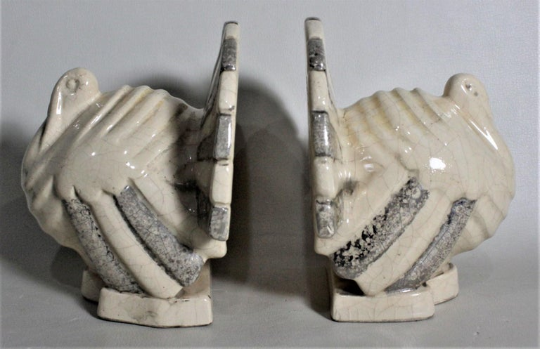Glazed Art Deco Figural Ceramic Turkey Bookends in Taupe and Charcoal Grey Luster Glaze For Sale