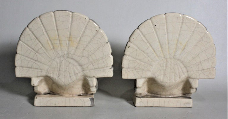 Art Deco Figural Ceramic Turkey Bookends in Taupe and Charcoal Grey Luster Glaze For Sale 2