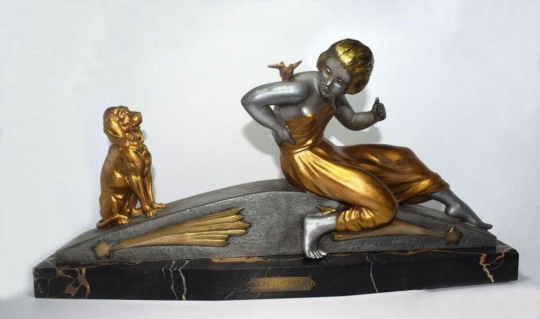 French Art Deco Figural Group by Van De Voorde For Sale