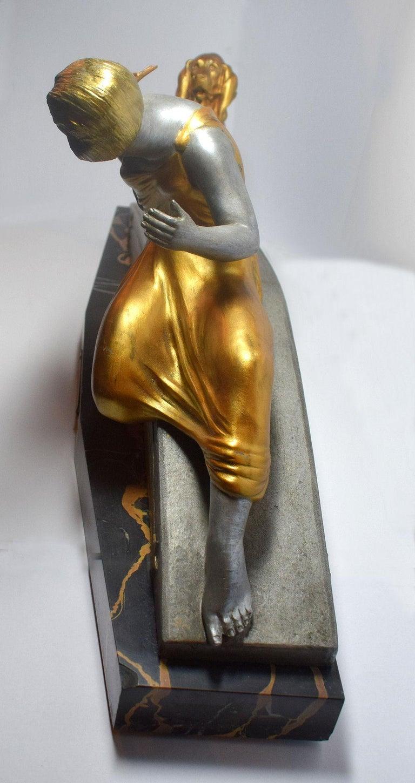 20th Century Art Deco Figural Group by Van De Voorde For Sale