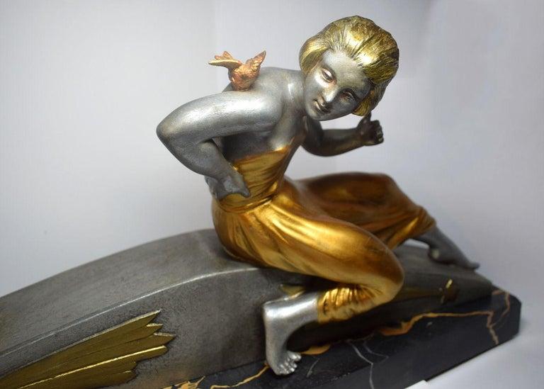 Spelter Art Deco Figural Group by Van De Voorde For Sale