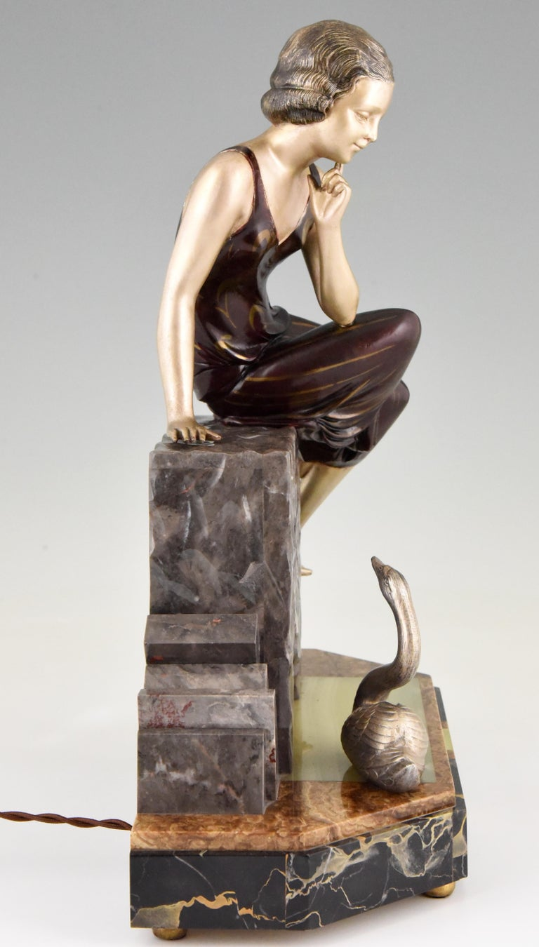 Art Deco Figural Lamp Sculpture Lady With Swan By Uriano