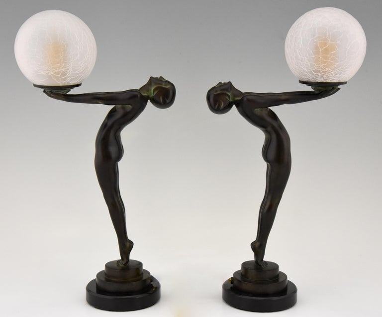 Art Deco Figural Lamp Standing Nude Holding a Glass Shade Max Le Verrier Clarté For Sale 5