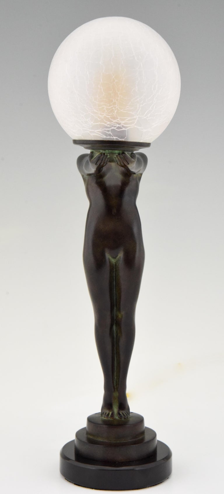 Art Deco Figural Lamp Standing Nude Holding a Glass Shade Max Le Verrier Clarté In New Condition For Sale In Antwerp, BE