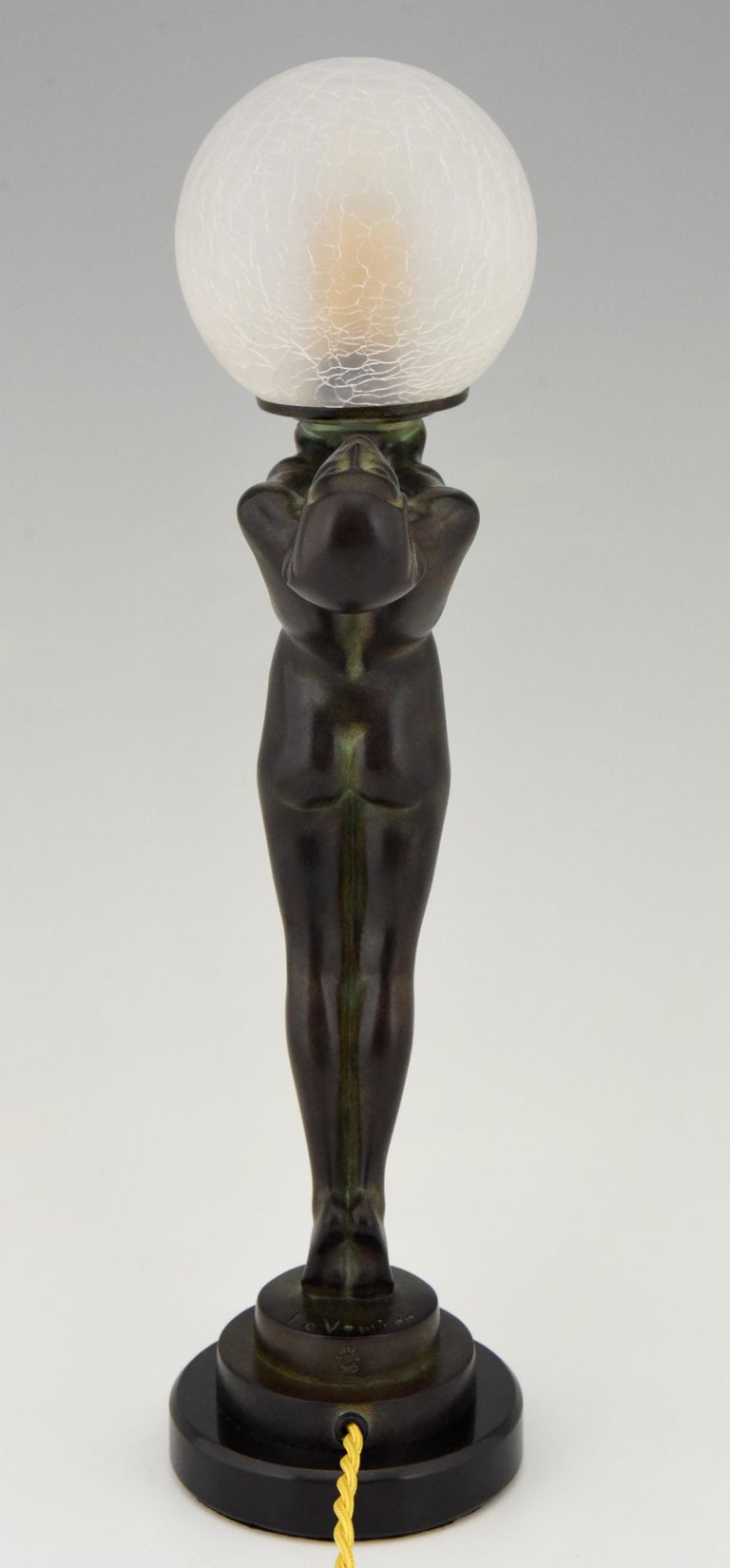 Art Deco Figural Lamp Standing Nude Holding a Glass Shade Max Le Verrier Clarté For Sale 1