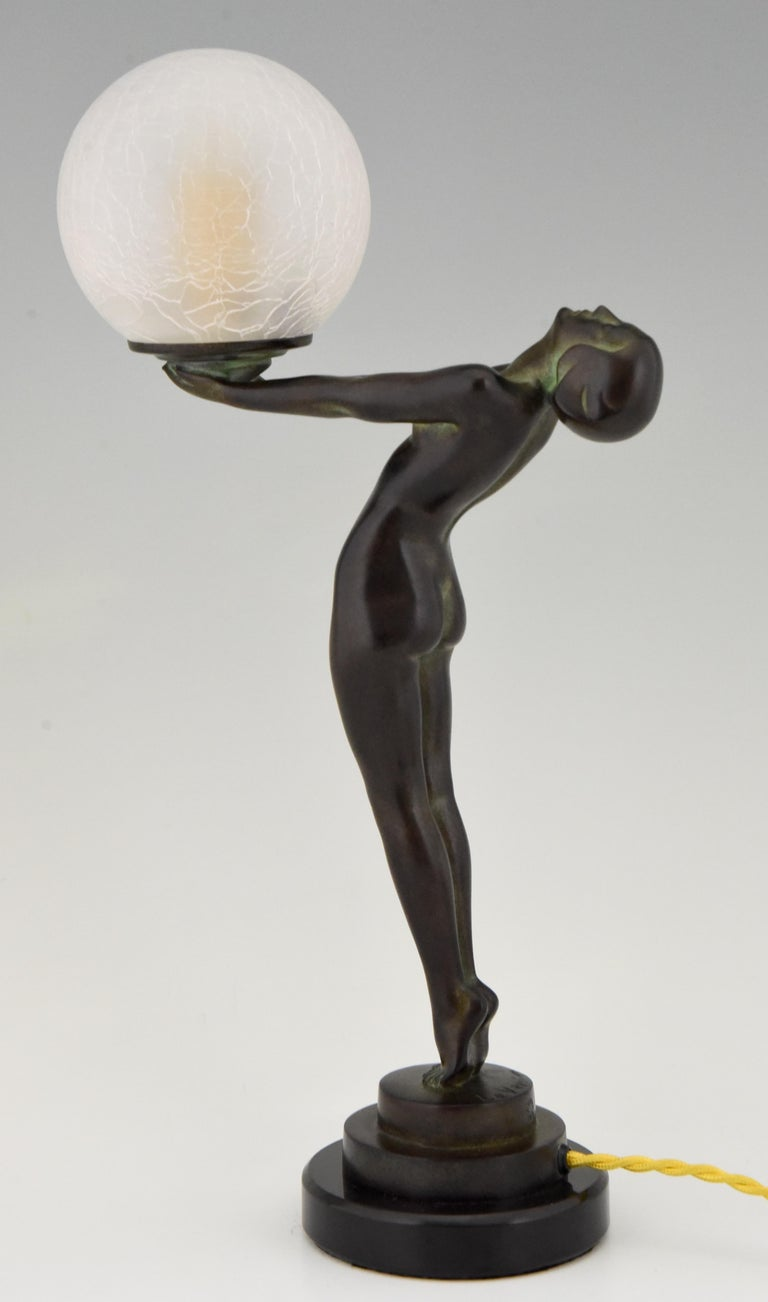 Art Deco Figural Lamp Standing Nude Holding a Glass Shade Max Le Verrier Clarté For Sale 2