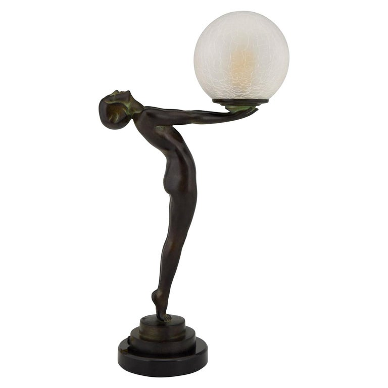 Art Deco Figural Lamp Standing Nude Holding a Glass Shade Max Le Verrier Clarté For Sale