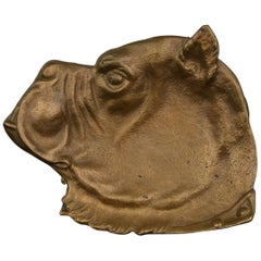 Art Deco Figural Money Valve, Bulldog Head, Brass, 1930s