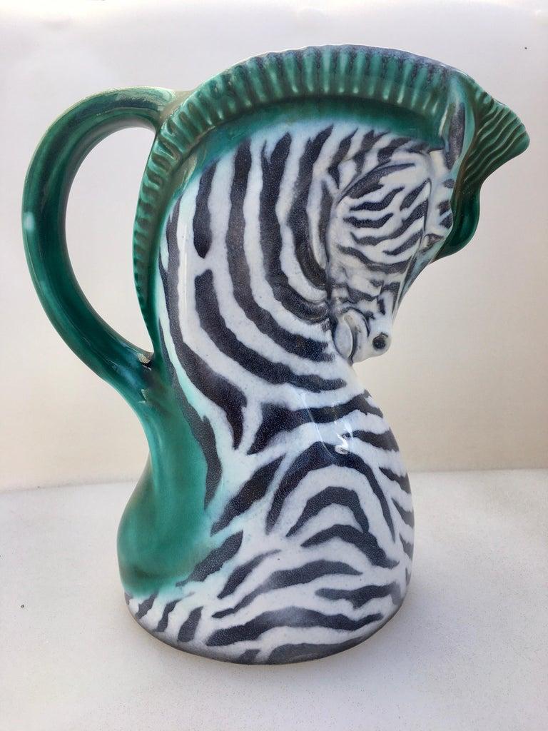 Art Deco Figural Zebra Serving Pitcher, Czech Ditmar Urbach Pottery In Good Condition In Lambertville, NJ