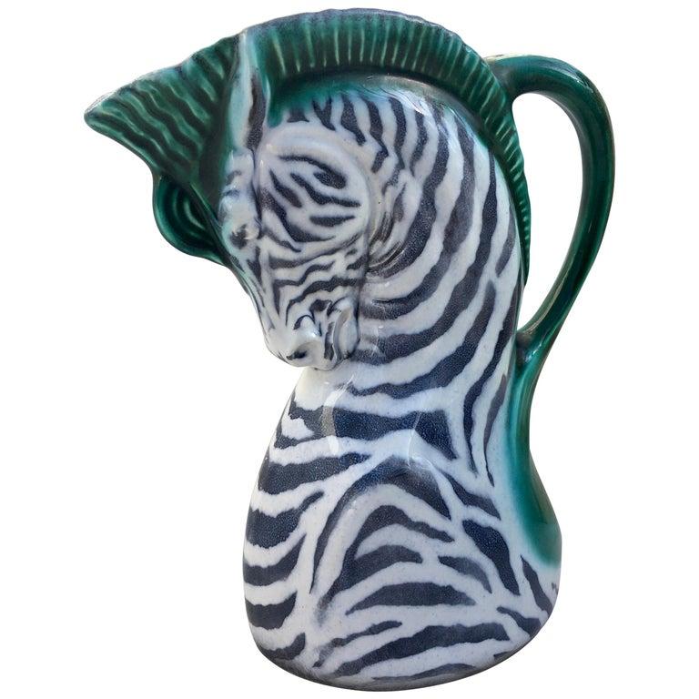 Art Deco Figural Zebra Serving Pitcher, Czech Ditmar Urbach Pottery
