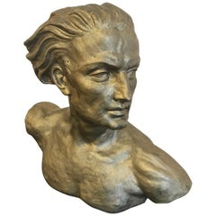 Art Deco Figurative Sculpture of a Male Bust, H. Laurens
