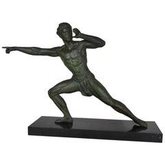 Art Deco Figurative Sculpture of Athlete on Black Marble Base, France, 1930s