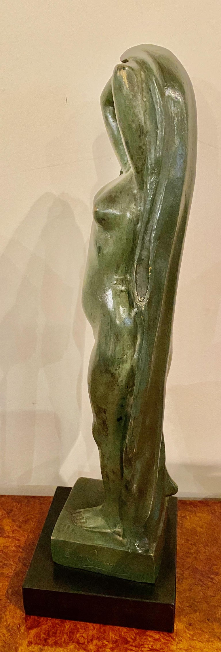 Art Deco Figure by Eugene Canneel Bronze, 1930s In Good Condition For Sale In Oakland, CA